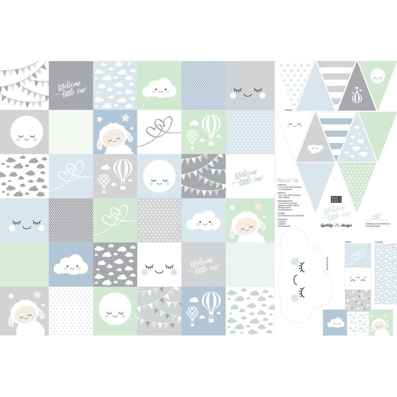 Welcome little one by lycklig design, blau, Panel, 100252, 130g/m²